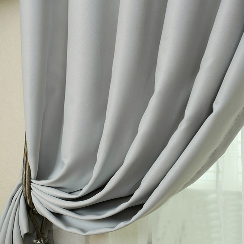 Stylish Light Grey Polyester Made Blackout Curtains