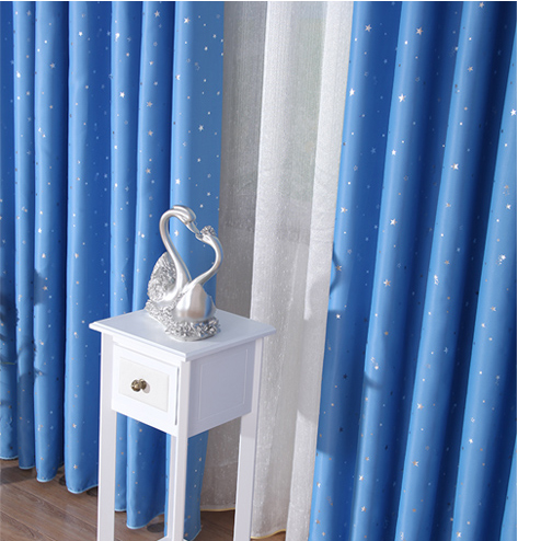 Discount Blue Kids Room Blackout Curtains Made of Poly