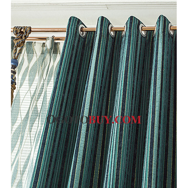 Striped Teal Curtains