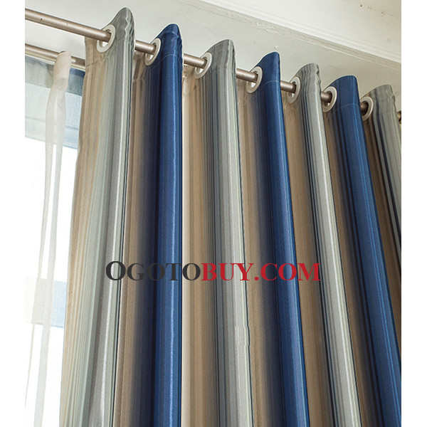 Cheap Custom Blue And Silver Striped Nautical Blackout Long Curtains