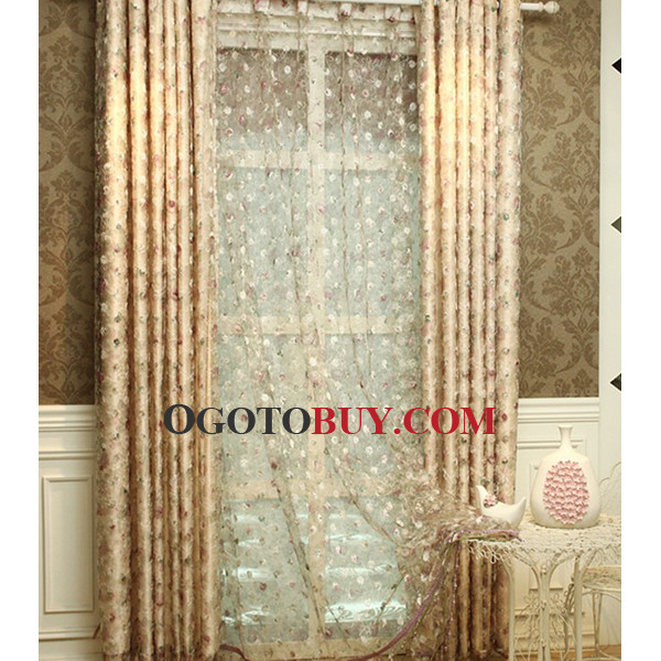 ... Luxury Casual Gold Floral Cheap Country Curtains Online ...
