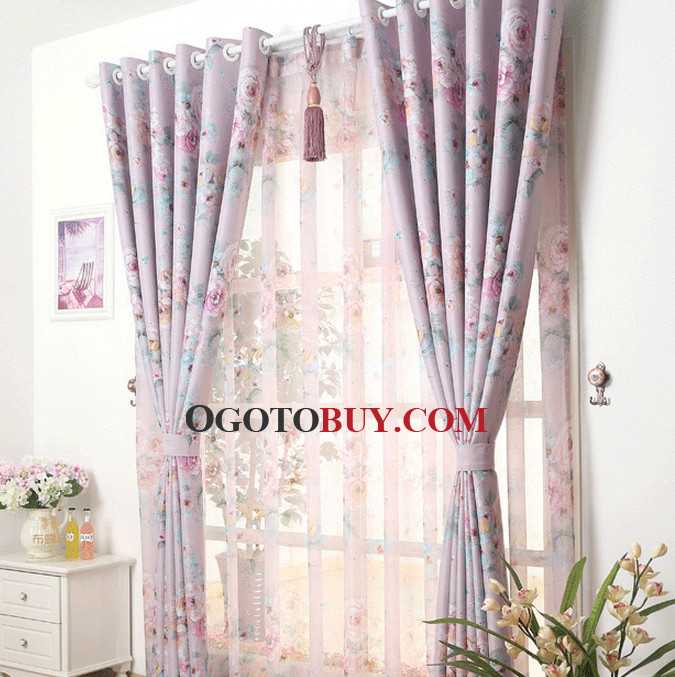 Romantic Dreamy Floral Lavender Living Room Extra Length Curtains ...