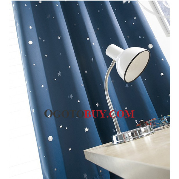Dark Blue Star Patterned Unique Chic Balckout Cheap Curtains, Buy ...