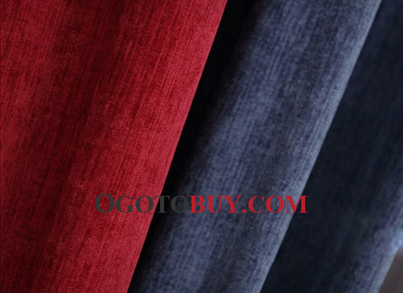 Red And Dark Blue Modern Striped Cheap Long Curtains