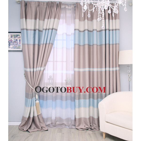 Cheap Custom Black Striped Living Room Baby Blue Curtains, Buy ...