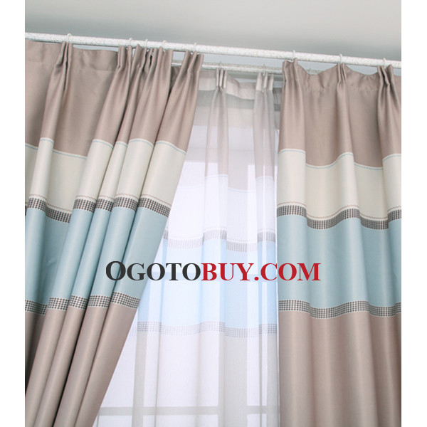 Cheap Custom Black Striped Living Room Baby Blue Curtains