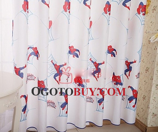 White Cool Patterned Custom Chic Kids Curtains For Boys