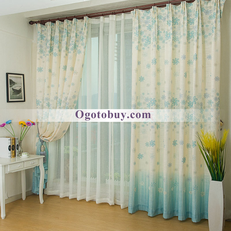 Country Thick Linen White and Light Blue Floral Custom Bedroom Curtains