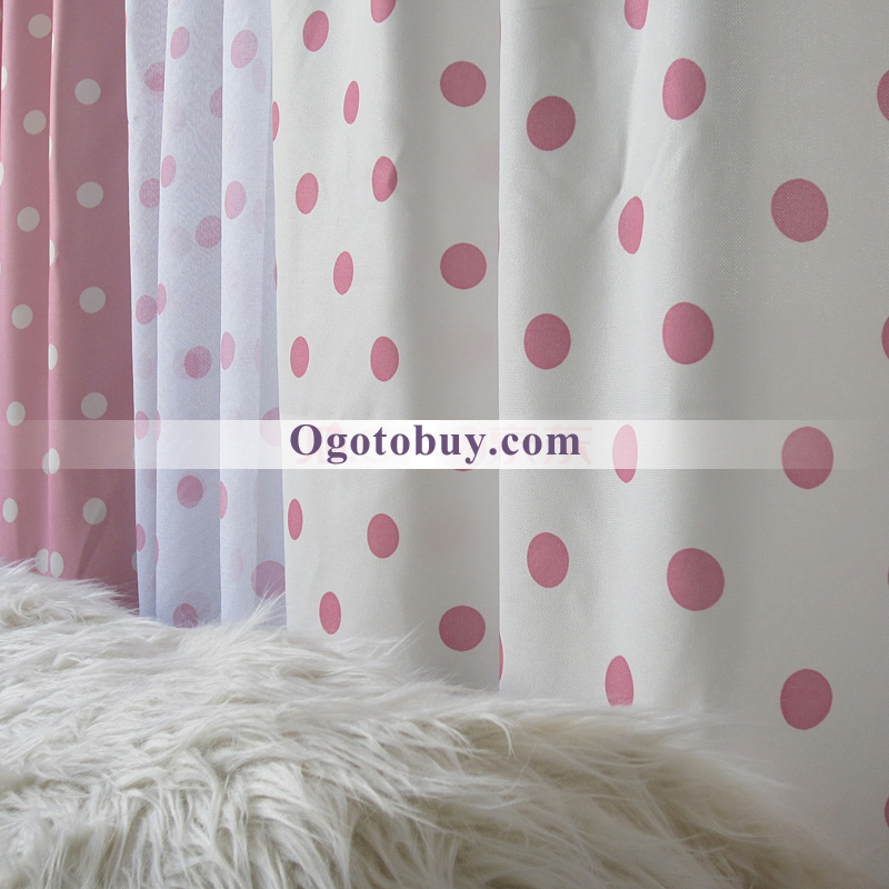 ... White Pink Dot Cute Decorative Yarn Bedroom Curtains ...