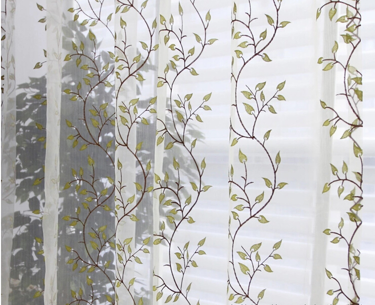 white and green leaf extra long sheer curtains