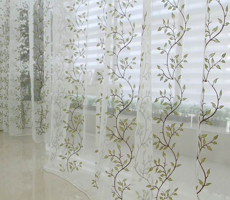 Charming ... White And Green Leaf Extra Long Sheer Curtains ...