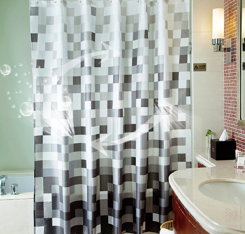... Eco Friendly Bathroom Black And White Mosaic Shower Curtain ...