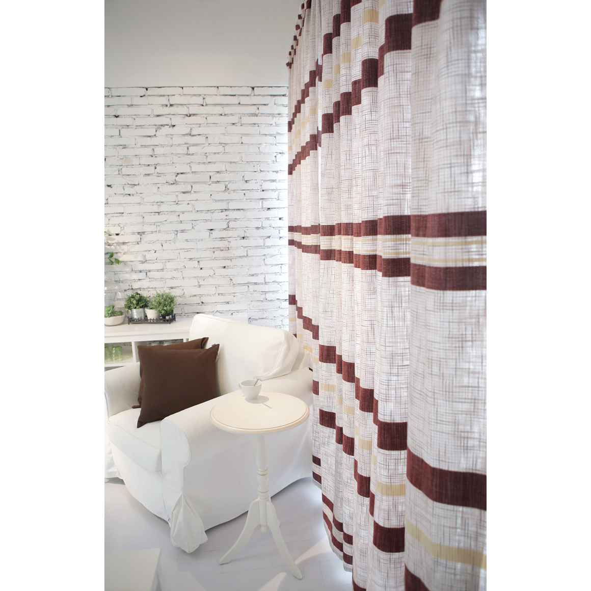 Modern Brown Striped Grey Cotton Eco-friendly Curtains