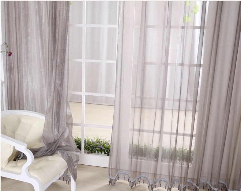 ... Gray Solid Living Room Sheer Curtains On Sale ...