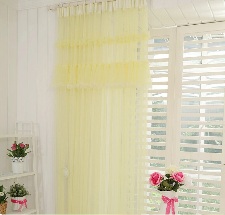 ... Sweet Yellow Lace Girl Bedroom Sheer Curtains ...