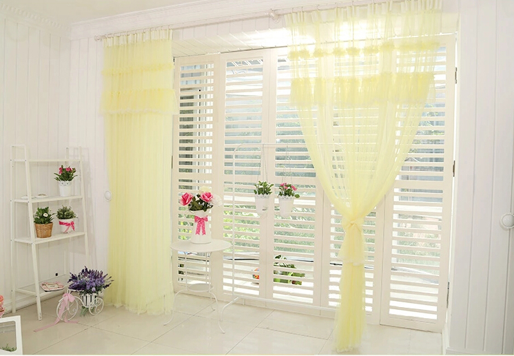 Awesome ... Sweet Yellow Lace Girl Bedroom Sheer Curtains ...