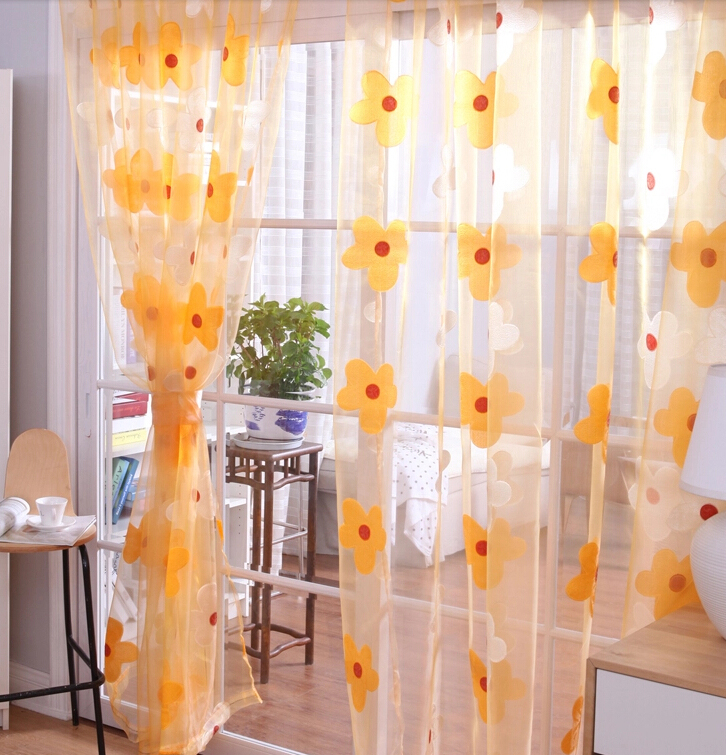 ... Great Quality Living Room Yellow Sheer Curtains