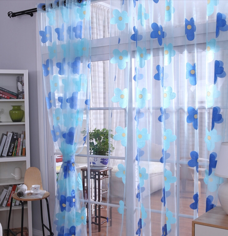 ... Sweet Blue Floral Design Sheer Curtains For Home ...