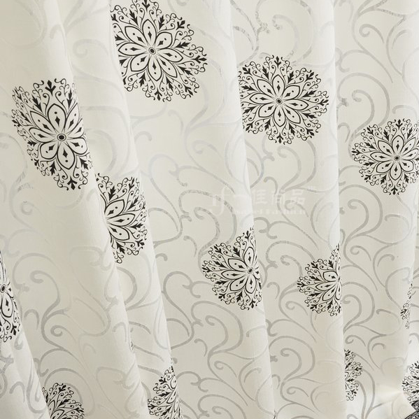 ... Graceful Grey Floral Printed Embossed White Lined Cotton Curtains