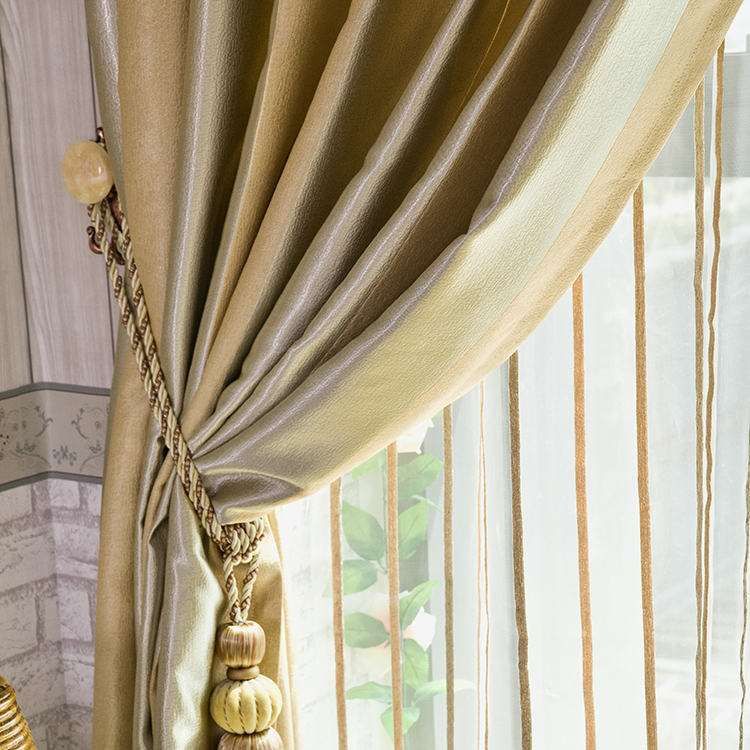 Elegant Gold Polyester Totally Blackout Lined Curtains (Two Panels ...