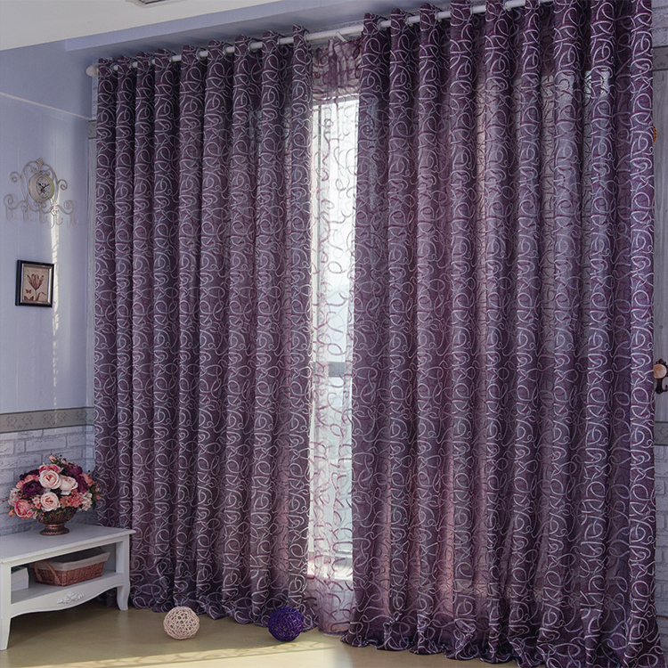 Lavender curtains romantic lavender feeling flocking blackout and