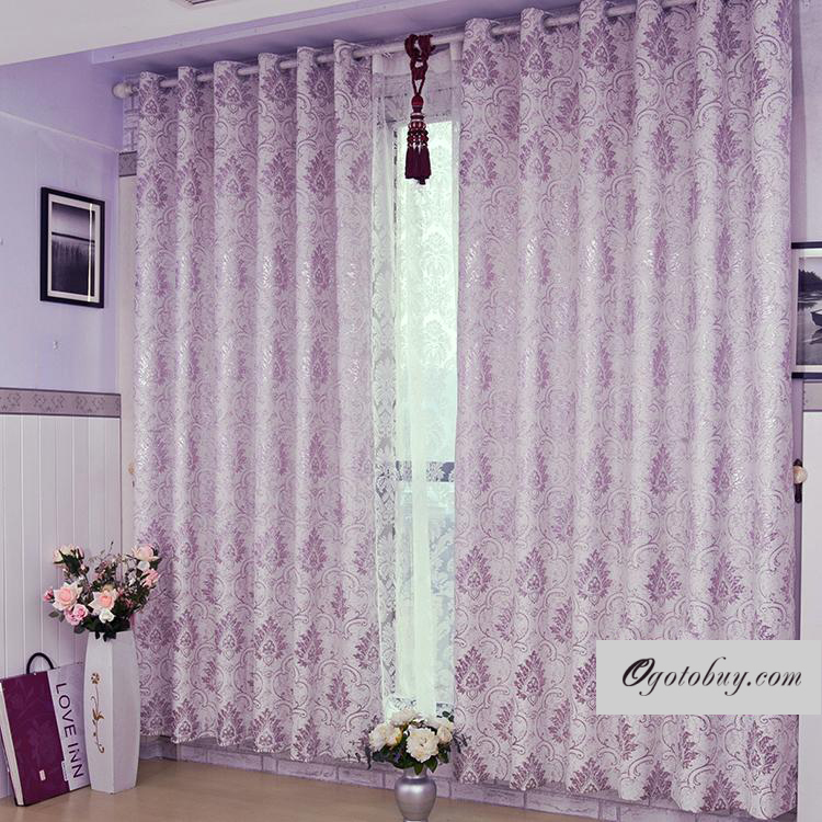 Lilac Curtains of Fabulous Polyester Fabric Hearts and Flowers ...