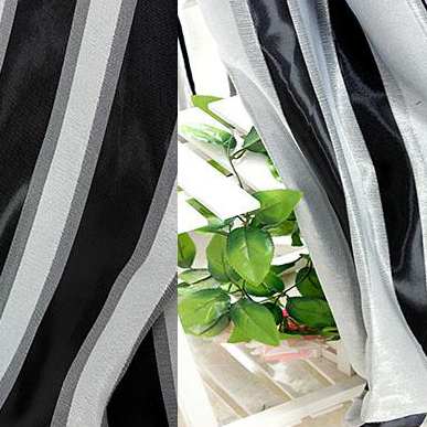 Beautiful Modern Black and White Striped Jacquard Blackout Curtains