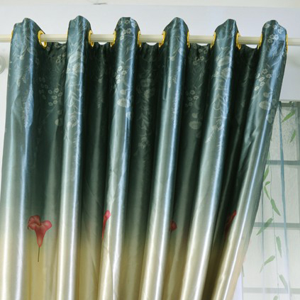 calla lily patterns blackout dark green polyester curtains