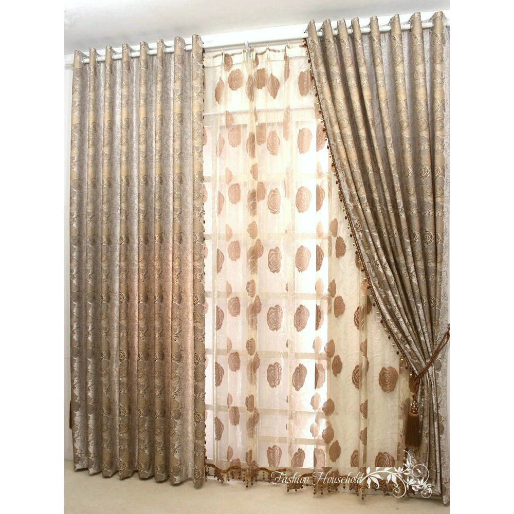 High Fashioned Botanical Printed Cotton Polyester Blend Brown Curtains