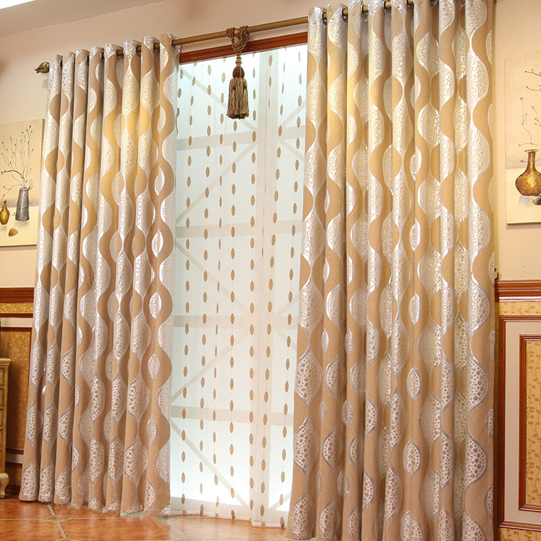 Charming Camel Embossed Blended Materials Blackout Curtains