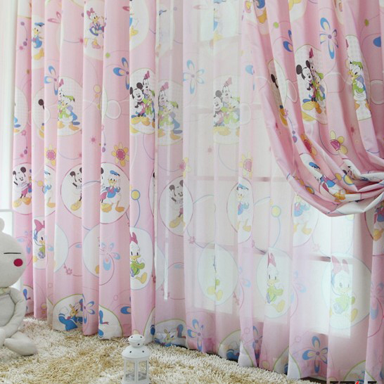 Cartoon Mickey Mouse and Donald Duck Patterns Pink Kid Curtains ...