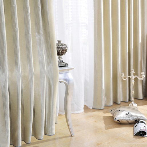 Classic Flocking Surface Blackout Beige Curtains With Grey Strips