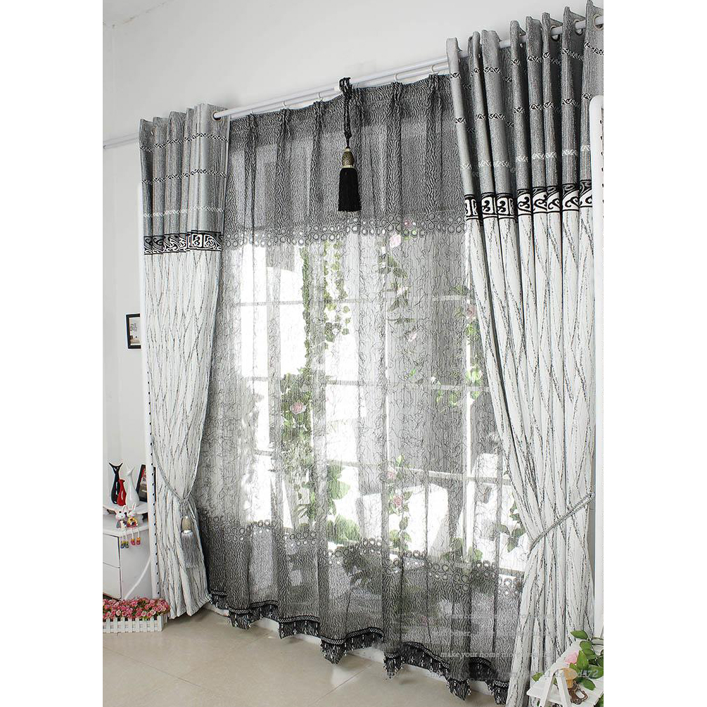Grey CurtainsGrey White Cotton Waffle Blackout Lined