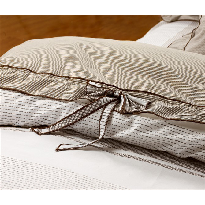 Modern Striped Combed Cotton Coffee and White 4-piece Bed-in-a-bag