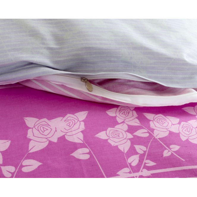 Beautiful Lilac Floral Jacquard Cotton 4-piece Bed-in-a-bag