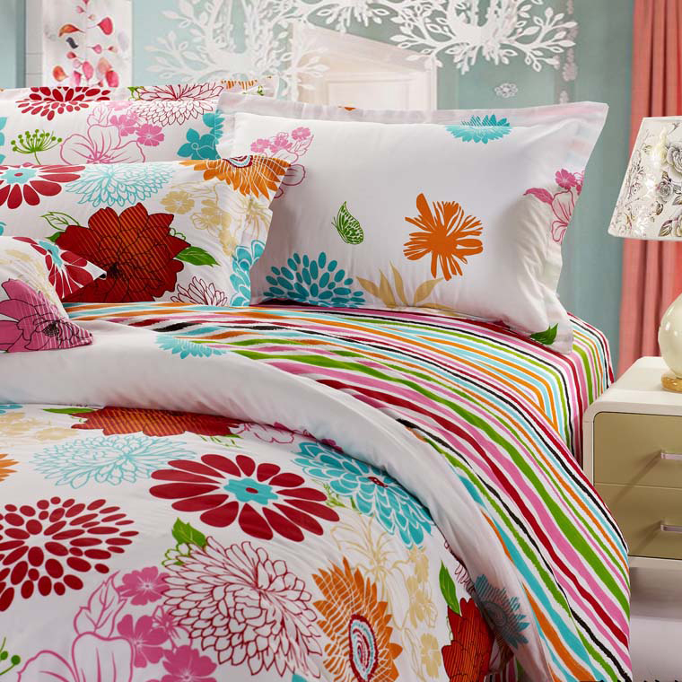 Beautiful Floral Bed-in-a-bag stampa a righe di cotone di 4 pezzi