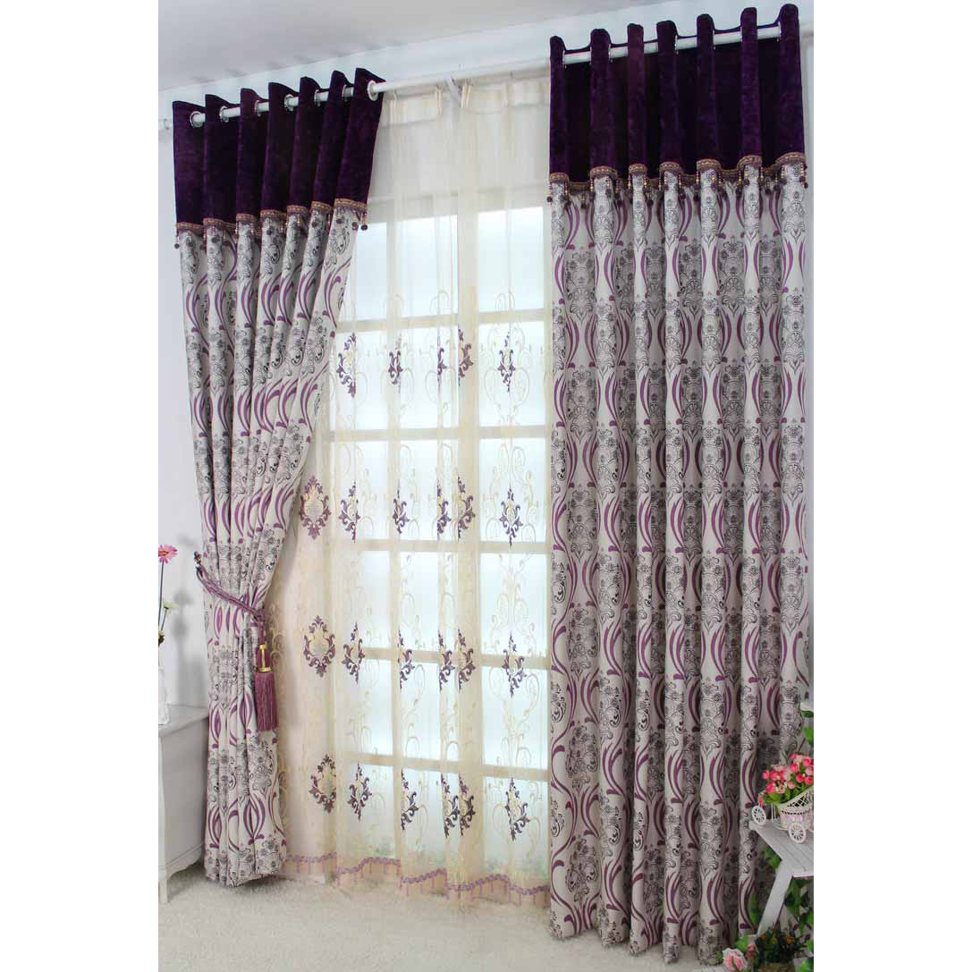 Beautiful Purple Blackout Curtains with Flowers and Leaf Patterns ...