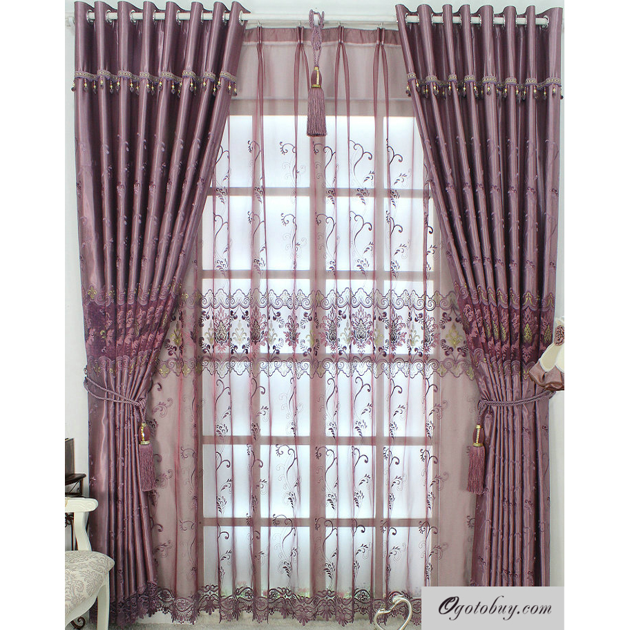 Romantic Purple Lace and Printed Energy Saving Curtains