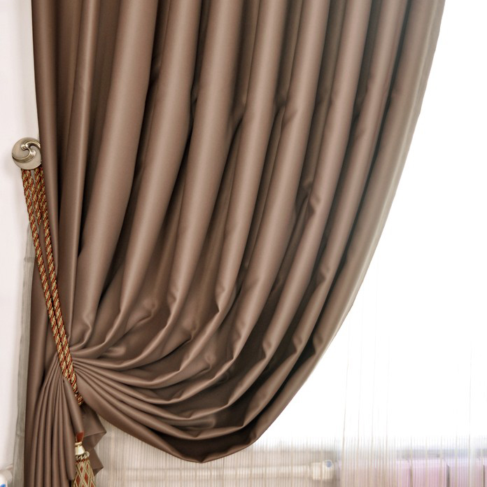 ... Pure Draped Blackout And Thermal Curtains In Brown ...