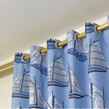 Blue Sailing Boat Printed Polyester Energy Saving Kid Curtains