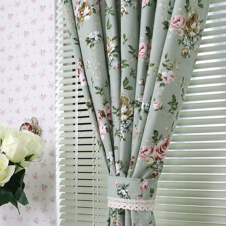 country style bud green little floral cotton curtains
