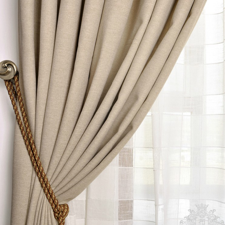 Comfortable Blackout Polyester Cotton and Linen Ivory Curtains ...