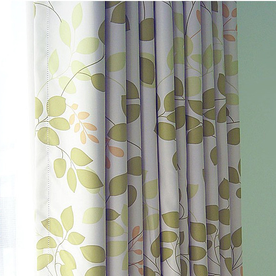 Amazing ... Spring Country Green Leaf Blackout Thermal Printing Curtains ...