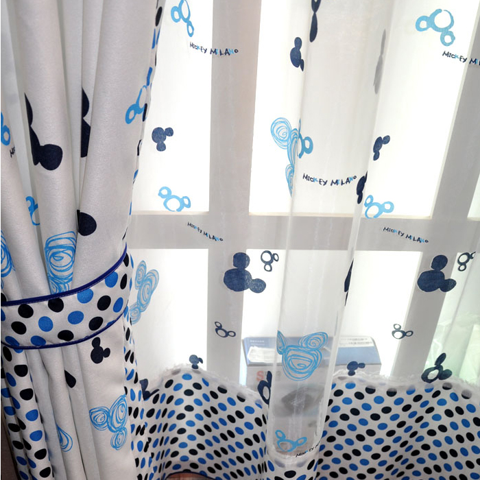 Cute Poly/Cotton Blend White Curtains with Mickey Heads