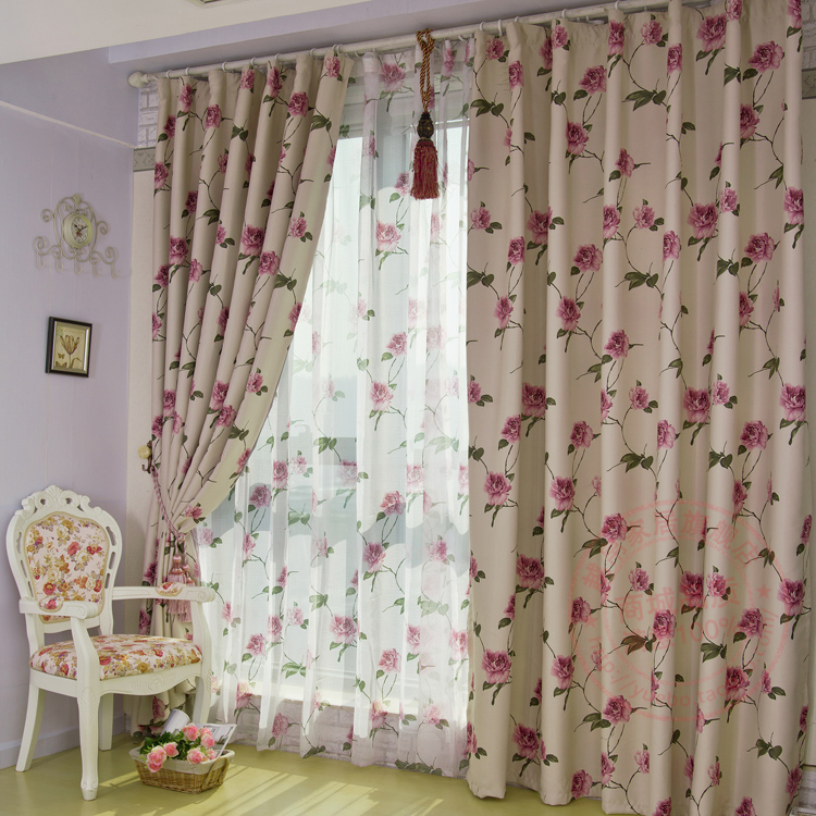 Attractive ... Country Rose Red Floral Printed Blackout Curtains In Ivory ...