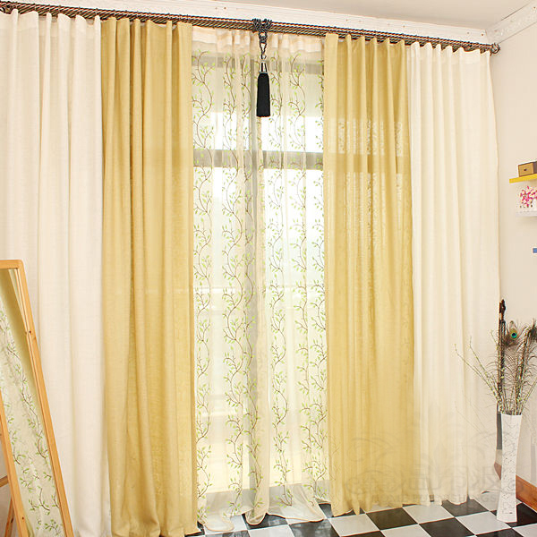 Charming ... Simple And Nice Faux Linen Energy Saving Curtains ...
