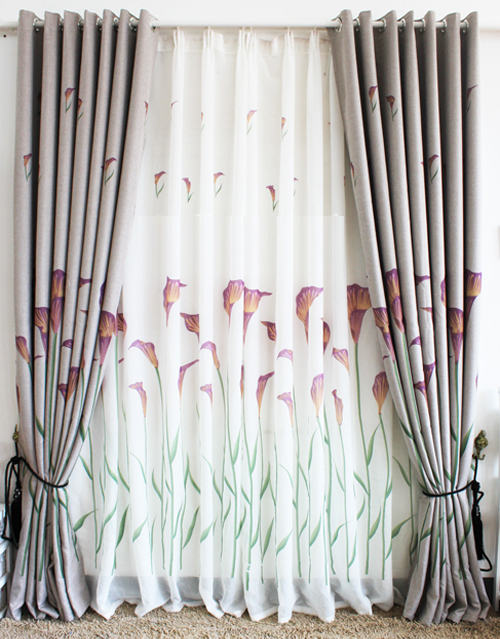 ... Blackout Country Curtains with Lily Printed Blended Materials ...
