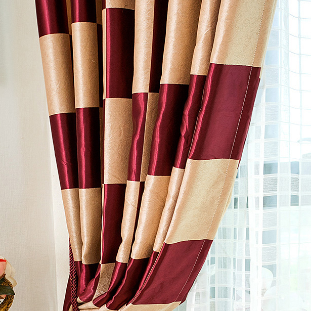 Graceful Burgundy Plaid Polyester Good Quality Curtains , Buy ...