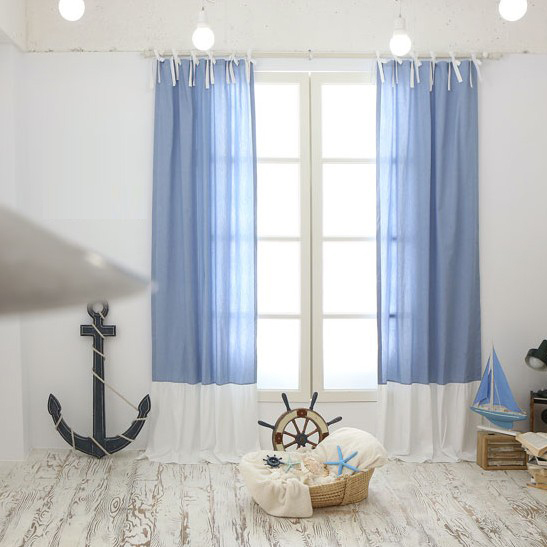 Superior ... Modern Kid Cotton Blue And White Thermal And Blackout Curtains