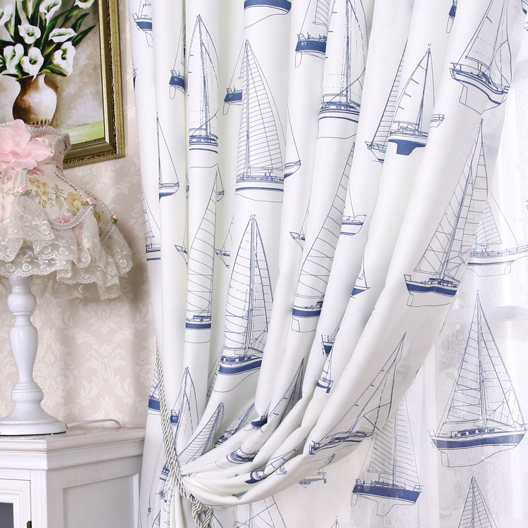 nautical white sailboat printed cotton ordinary blackout curtains